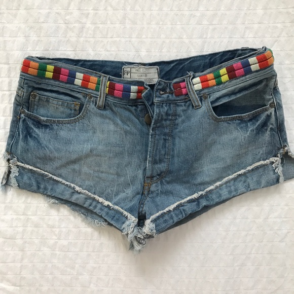 Free People Pants - FREE PEOPLE rainbow embroidery shorts